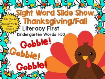 Sight Word Slide Show, Literacy First Kindergarten Words 1-50, Fall Fun