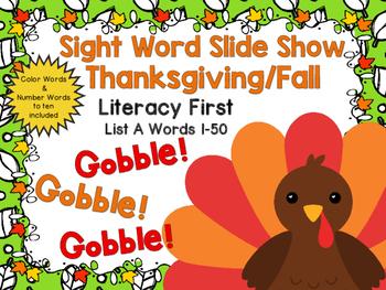 Sight Word Slide Show, Literacy First List A, Words 1-50, Fall Fun
