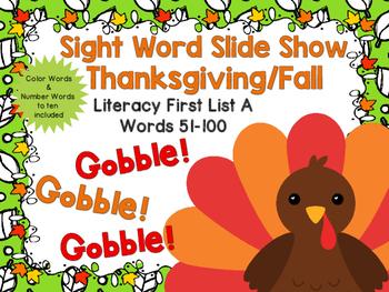 Sight Word Slide Show, Literacy First List A, Words 51-100, Fall Fun