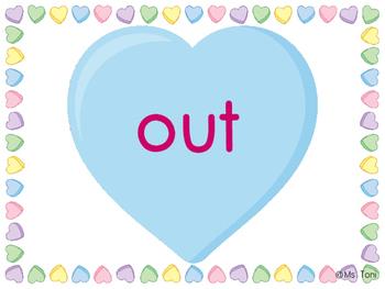 Sight Word Slide Show, Literacy First List A Words 51-100, Valentine's Day