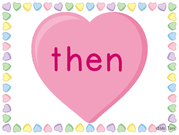 Sight Word Slide Show, Literacy First List A Words 51-100, Valentine's Day