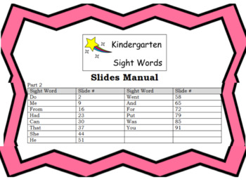 Sight Word Slides (Part 2)