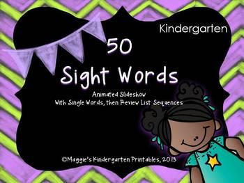 Sight Word Slideshow with 50 Kindergarten Level Words Anim