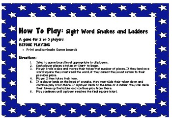 Sight Word Snakes and Ladders Gameboards