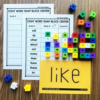 Sight Word Snap Block Center  - Fry 51-100
