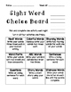 Sight Word/Snap Word Choice Boards