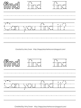 """Sight Word Snapshot - """"Can you FIND it?"""" Sentence Writing Fluency mini-book"""