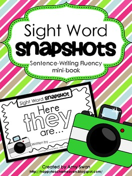 "Sight Word Snapshot - ""Here THEY are!"" Sentence Writing Fluency mini-book"