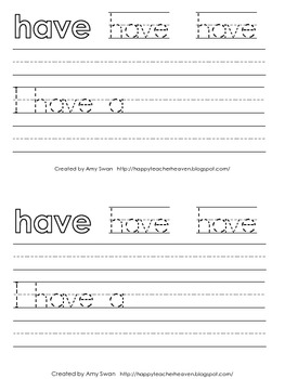"Sight Word Snapshot - ""I have a..."" Sentence Writing Fluency mini-book"