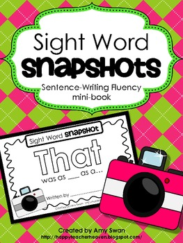 """Sight Word Snapshot - """"THAT was as__as a..."""" Sentence Writing Fluency mini-book"""
