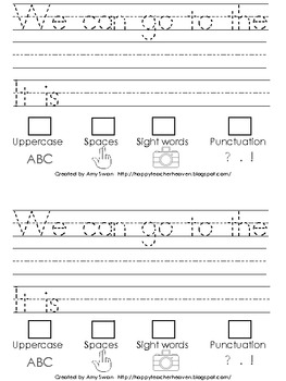 "Sight Word Snapshot - ""WE can go to the..."" Sentence Writing Fluency mini-book"