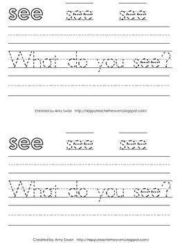 "Sight Word Snapshot - ""What do you SEE..."" Sentence Writing Fluency mini-book"