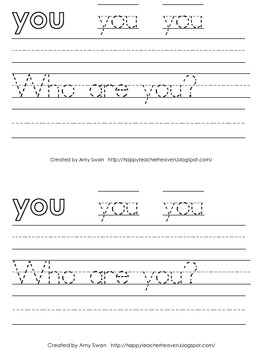 "Sight Word Snapshot - ""Who are YOU?"" Sentence Writing Fluency mini-book"