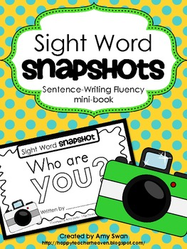 """Sight Word Snapshot - """"Who are YOU?"""" Sentence Writing Flue"""