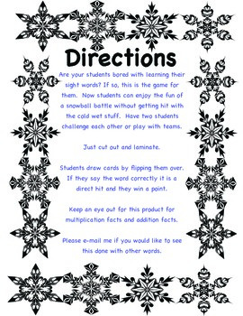 Sight Word Snow Game
