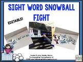 Sight Word Editable Snowball Fight!