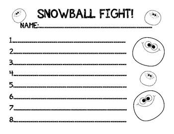 Sight Word Snowball Fight (50 HFW)