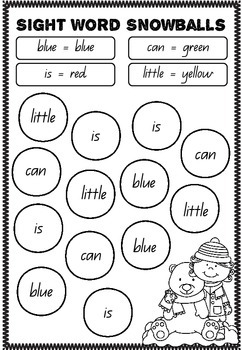 Sight Word Snowballs - Pre Primer Edition (Colour by Sight Word)