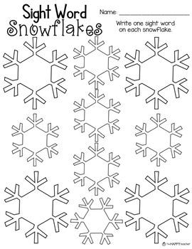Sight Word Snowflakes {FREE} Worksheet
