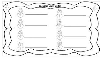 Sight Word Snowmen ABC Order