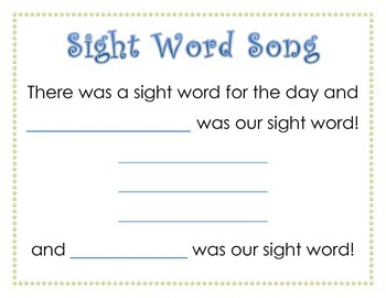 Sight Word Song- Calendar Time