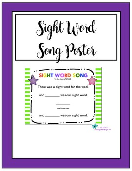Sight Word Song Poster