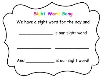 Sight Word Song for Calendar Time with students who have special needs