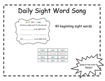 Sight Word Song for Calendar Time with students who have s