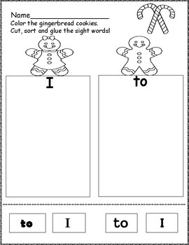 Sight Word Sort Gingerbread Themed