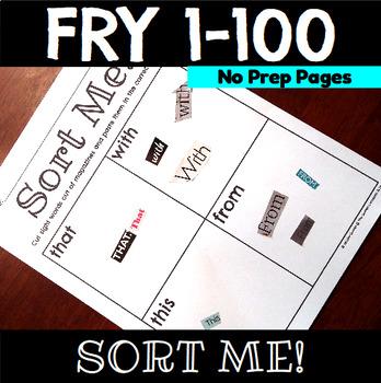 Sight Word Sort Me Practice Sheets Fry 1-100