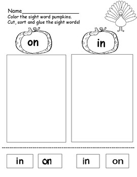 Sight Word Sort Worksheets - Fall Themed