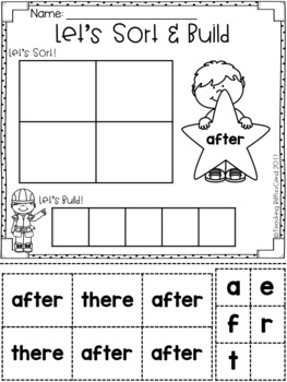 Sight Word Sort and Build (First Grade)