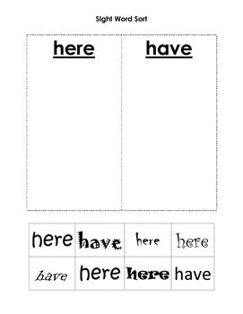 Sight Word Sort here vs. have Freebie Sample