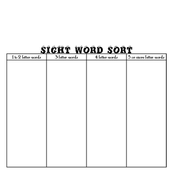 Sight Word Sort plus 150 Dolch Cut & Paste Words