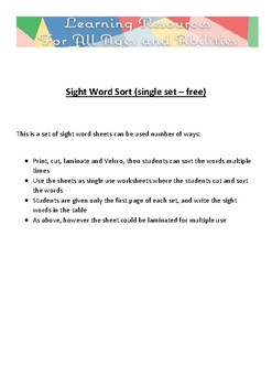 Sight Word Sort (single set – free)