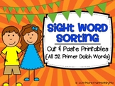 Sight Word Sorting - Cut & Paste Printables { ALL 52 Primer Dolch Words}