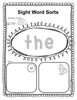 Sight Word Sorts {Kindergarten}