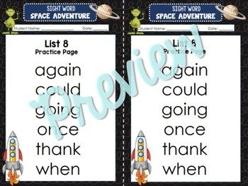 Sight Word Space Adventure RTI Toolkit (First)