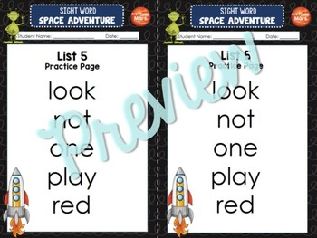 Sight Word Space Adventure RTI Toolkit (Pre-Primer)