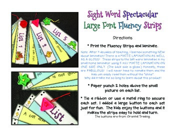 Sight Word Spectacular Large Font Fluency Sentences