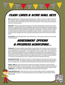 """Sight Word Speedway"" Complete Year's System for FRY's THIRD 100 Words"