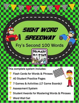 """Sight Word Speedway"" Complete Year's System for FRY's SECOND 100 Words"