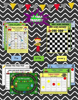 """Sight Word Speedway"" System MEGA BUNDLE for FRY's First 300 Words"