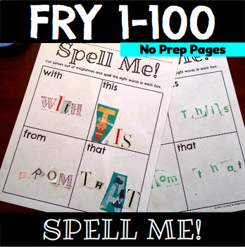 Sight Word Spell Me Practice Sheets Fry 1-100