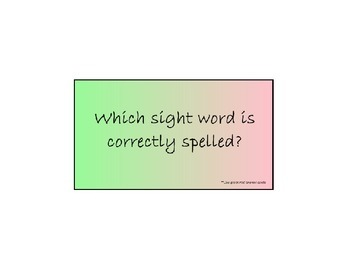 Sight Word Spelling