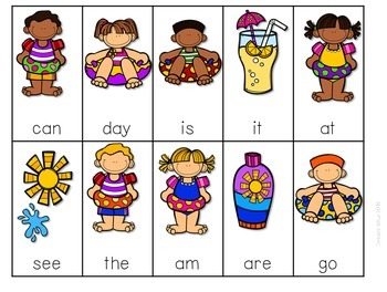 Sight Word Spelling Game ~ Pool Party ~ Editable