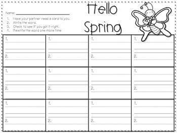 Sight Word Spelling Game ~ Spring ~ Editable