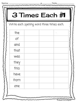 Sight Word Spelling List and Activities **NO PREP**
