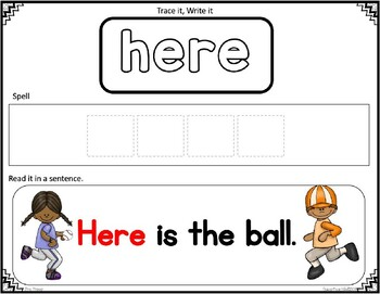 Sight Word Spelling PRE-PRIMER Cards