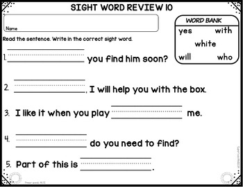 Sight Word Spelling  PRIMER Cards and Worksheets